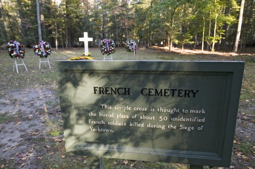 French Cemetery where 50 French soldiers who lost their lives in the Siege of Yorktown, 1781, are buried, Colonial National Historical Park, Historical Triangle, Virginia : Stock Photo