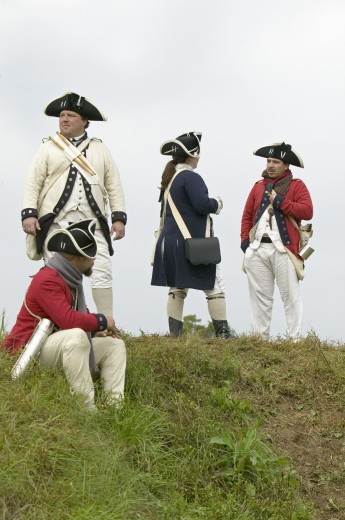 Re-enactment of Revolutionary War Encampment demonstrates camp life of Continental Army as part of the 225th Anniversary of the Siege of Yorktown, Virginia, 1781, ending the American Revolution with the defeat of the British Army and Lord Cornwallis surrendering to General Washington. : Stock Photo