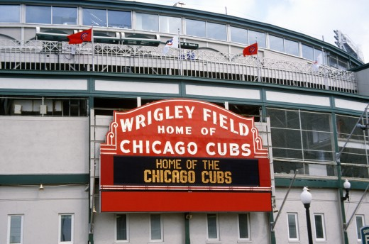 Close-up of signage at Wrigley Field, Illinois, home of Chicago Cubs : Stock Photo