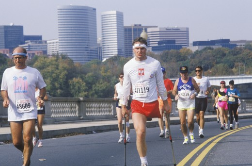 Handicapped runners participating in marathon run, Washington, DC : Stock Photo