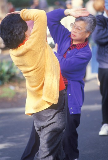 Stock Photo: 1599-6511 Chinese Americans practicing Tai Chi, North Beach, Can Francisco, CA