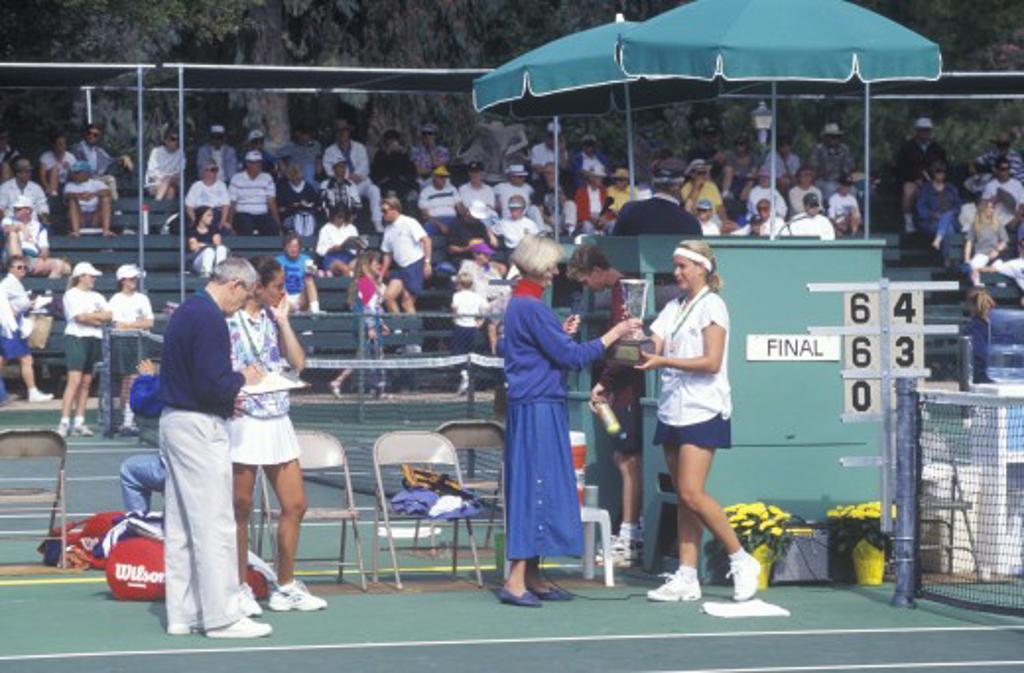 Tennis Serve, Annual Ojai Amateur Tennis Tournament, Ojai, CA : Stock Photo