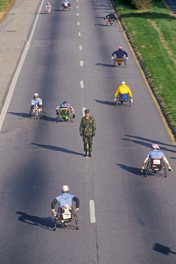 Wheelchair athletes participating in the 17th Marine Marathon, Washington D.C. : Stock Photo