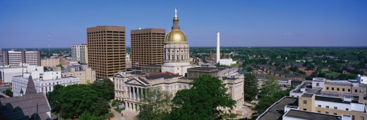 This is the State Capitol and skyline in daylight. : Stock Photo