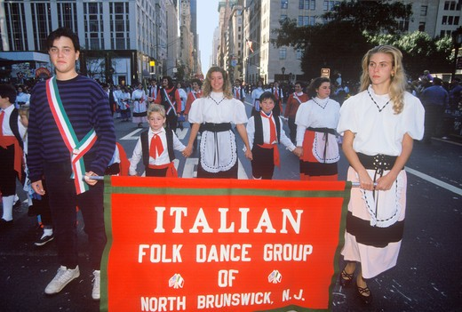 Stock Photo: 1599-7299 Italian Folk Dance Group Marching in Columbus Day Parade, New York City, New York