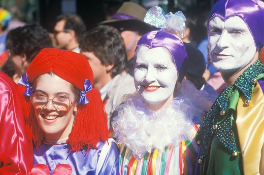 People Dressed in Mardi Gras Costumes, New Orleans, Louisiana : Stock Photo