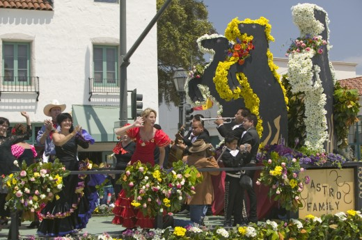 Woman performing Flamenco dancing on parade float during opening day parade down State Street, Santa Barbara, CA, Old Spanish Days Fiesta, August 3-7, 2005 : Stock Photo