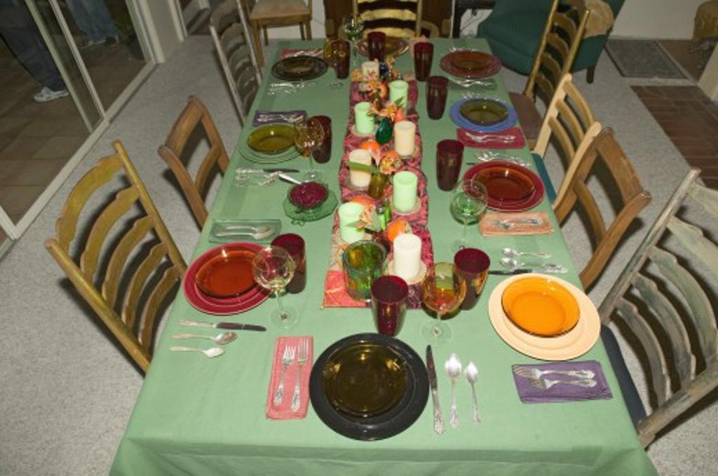 Stock Photo: 1599-7618 Table setting for Thanksgiving dinner, Ojai, California