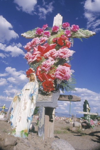 A cemetery on an Indian reservation in Santa Clara New Mexico : Stock Photo
