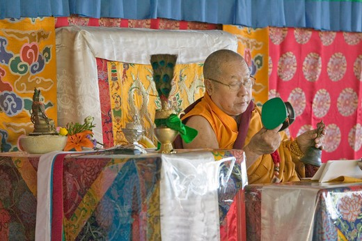 Stock Photo: 1599-7856 HH Penor Rinpoche, Tibetan-born Supreme Head of Nyingmapa Buddhism, presides over Amitabha Empowerment at Meditation Mount in Ojai, CA
