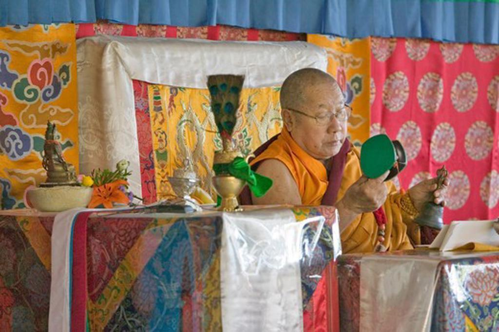 HH Penor Rinpoche, Tibetan-born Supreme Head of Nyingmapa Buddhism, presides over Amitabha Empowerment at Meditation Mount in Ojai, CA    : Stock Photo