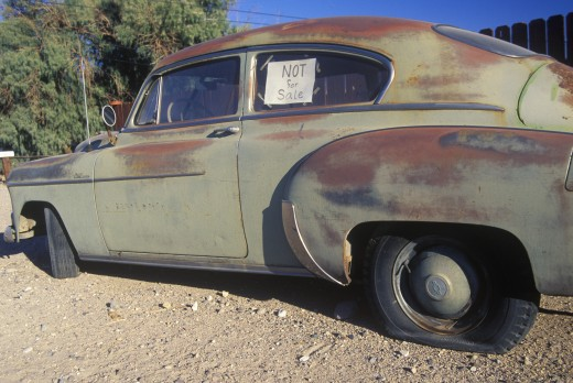 A not for sale used car in Barstow, California : Stock Photo