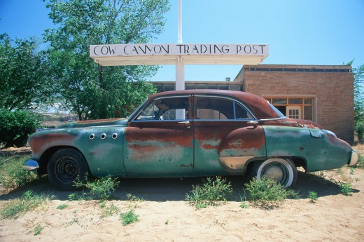 Stock Photo: 1599-8232 A junk car at the Cow Trading Post in Arizona