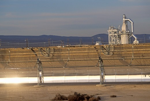 Stock Photo: 1599-8416 LUZ Solar plant in Barstow, CA