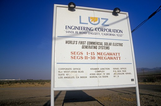 Stock Photo: 1599-8418 Sign for the LUZ Engineering Corporation Solar Plant in Barstow, CA