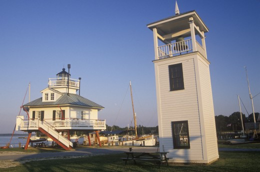 Stock Photo: 1599-8446 Hooper Strait Lighthouse lamp at Hooper Strait in Tangier Sound, Chesapeake Bay Maritime Museum in St. Michaels, MD