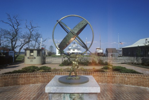 Stock Photo: 1599-8450 Sculpture in front of Hooper Strait Lighthouse at Hooper Strait in Tangier Sound, Chesapeake Bay Maritime Museum in St. Michaels, MD