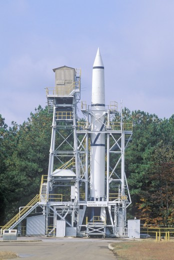Stock Photo: 1599-8513 A rocket at the historic Redstone Rocket Test Site at the George C. Marshall Space Flight Center in Huntsville, Alabama