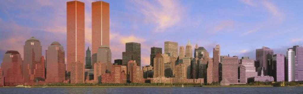 Stock Photo: 1599-8888 Panoramic view of Manhattan skyline at dusk