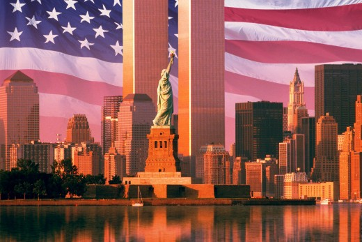 Digital composite: New York skyline, American flag, World Trade Center, Statue of Liberty : Stock Photo