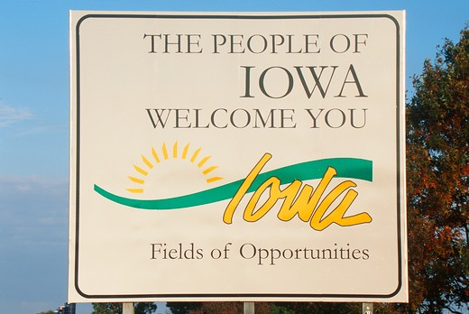 Welcome to Iowa Sign : Stock Photo