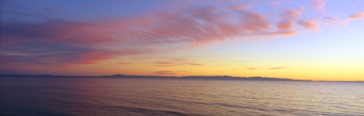 Stock Photo: 1599-9760 Channel Islands and Pacific at sunset, Ventura, California