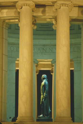 Stock Photo: 1599R-15259 Statue of Thomas Jefferson at Jefferson Memorial, Washington D.C., yellow tone