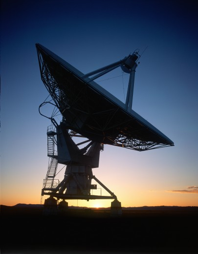 Satellite dish at sunset, National Observatory, Tucson, Arizona : Stock Photo
