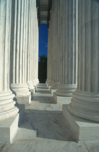 Marble columns and bases at Jefferson Memorial, Washington D.C. : Stock Photo