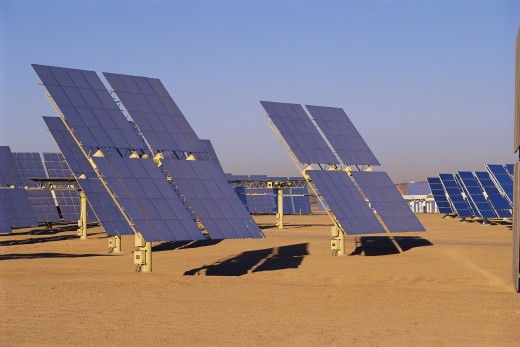 This is a solar energy plant called Solar 2. This has been updated by Southern California Edison. : Stock Photo