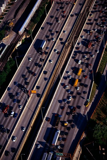 This is an aerial view of the Interstate Highway 90/94 during rush hour traffic. It is the morning rush hour during summer. : Stock Photo