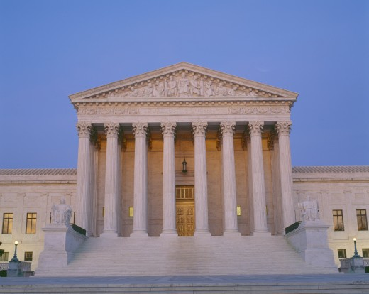 Supreme Court Building at dusk : Stock Photo