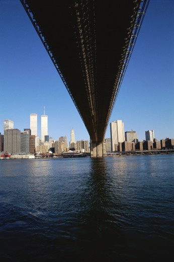 View of New York from underneath the Brooklyn Bridge : Stock Photo