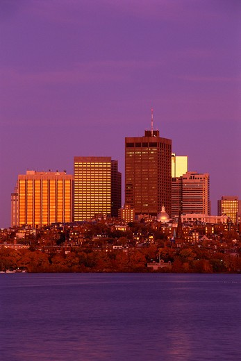 Stock Photo: 1599R-16041 Boston skyline and Charles River