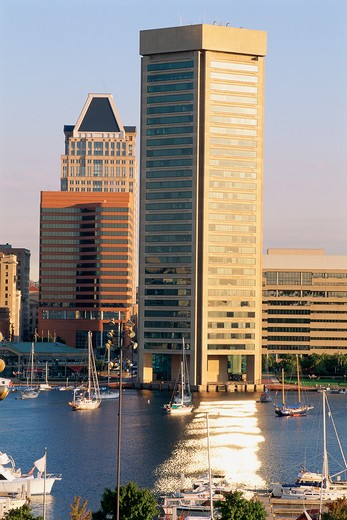 Inner Harbor & Trade Center building, Baltimore, MD : Stock Photo