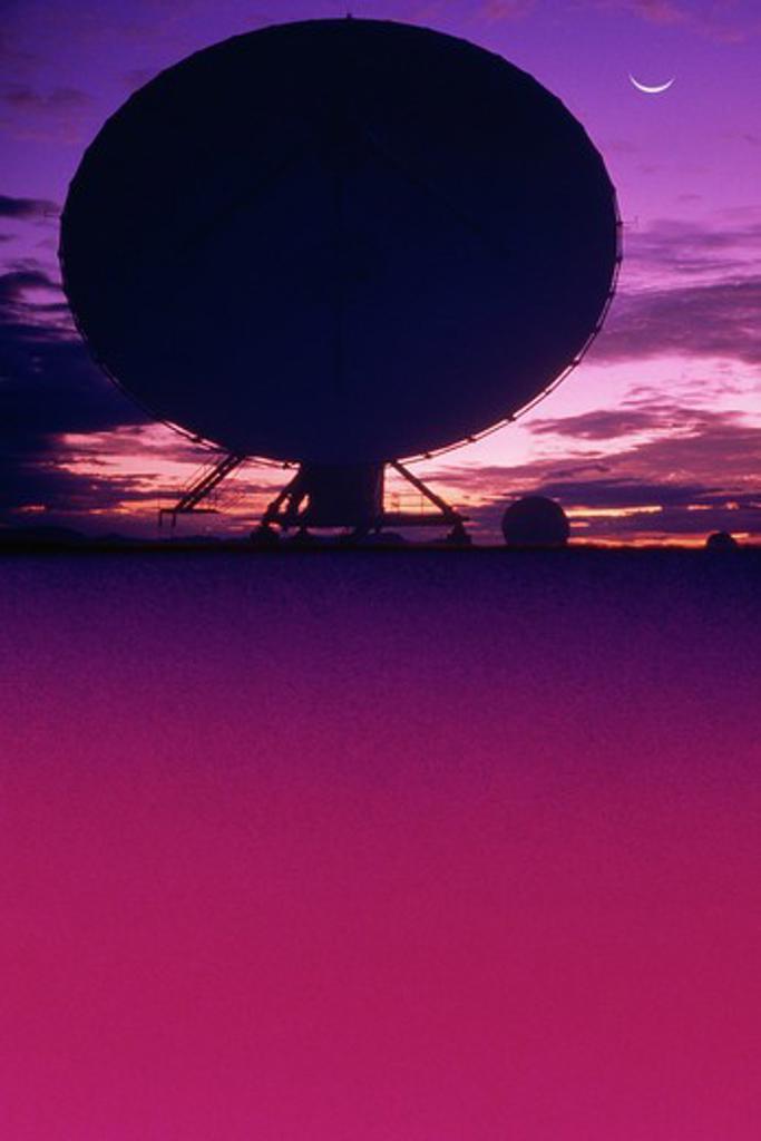 Stock Photo: 1599R-16110 Silhouette of satellite dish/array
