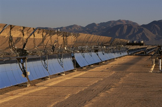 Stock Photo: 1599R-16195 Row of solar panels at solar energy plant