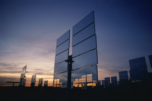 Upright solar panels at dusk : Stock Photo
