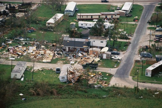 Trailer homes and houses destroyed by tornado : Stock Photo
