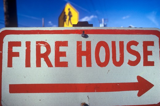 Fire House sign : Stock Photo