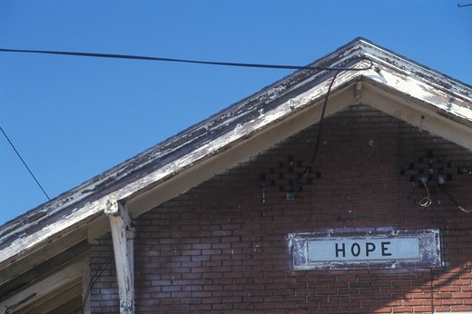 Stock Photo: 1599R-17684 Train station sign for city of Hope in Hempstead County, Arkansas