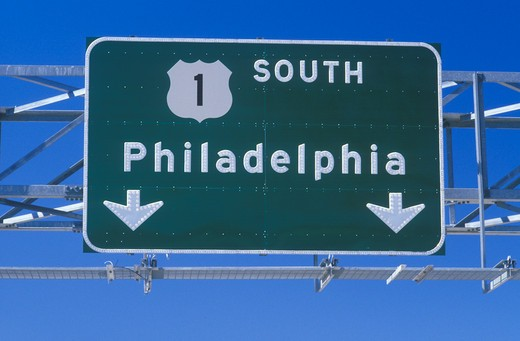 Stock Photo: 1599R-17810 Route 1 South sign in Philadelphia