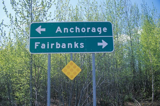 Stock Photo: 1599R-17985 A sign that reads ?Anchorage/Fairbanks?
