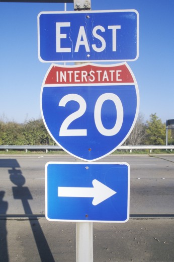 Stock Photo: 1599R-18186 Interstate Highway 20 East entrance in Southeast USA