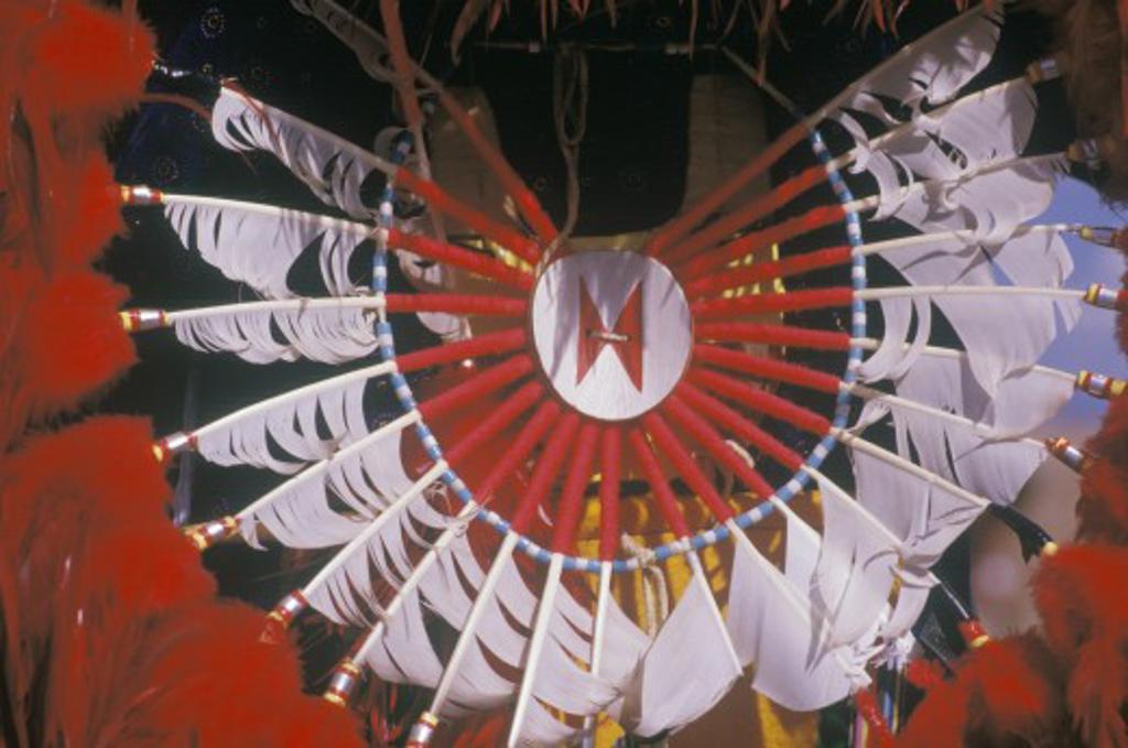 Native American headdress for the ceremonial Corn Dance, Santa Clara Pueblo, NM : Stock Photo