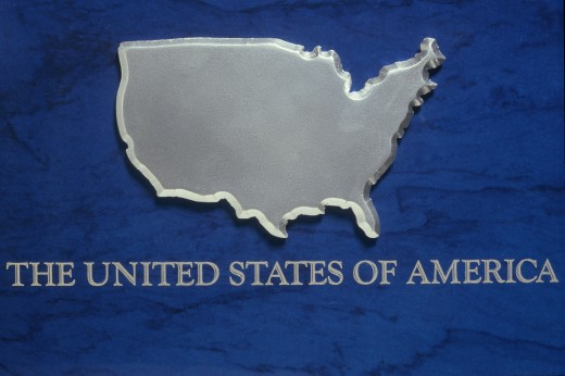 Stock Photo: 1599R-19111 Silver Map of USA 2