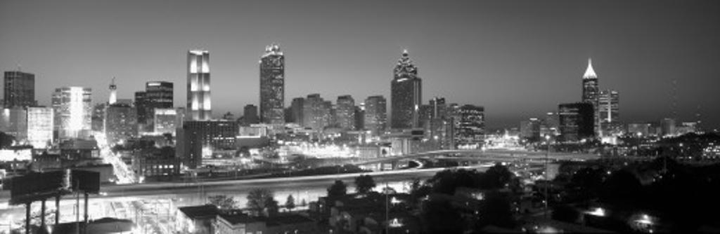 Atlanta Skyline at Dusk (After Olympics), grayscale, Georgia : Stock Photo
