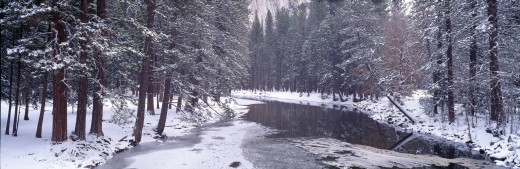 Snowy Merced River in Yosemite, California : Stock Photo
