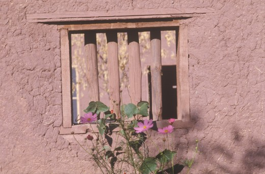 Stock Photo: 1599R-19719 Close-up of a wall in San Miguel's adobe Mission, CA