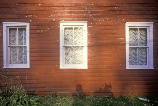 Front windows of house,  New England : Stock Photo